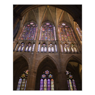 Catedral de Leon, interior stained glass windows 2 Posters