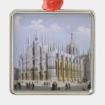 Catedral de Milano de 'vistas de Milano y de su Adorno Navideño Cuadrado De Metal
