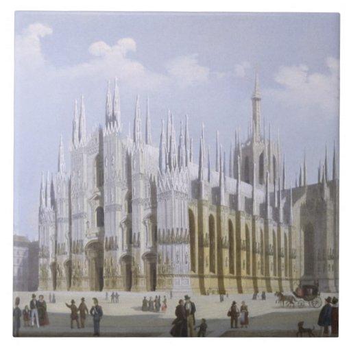 Catedral de Milano de 'vistas de Milano y de su En Azulejo Cuadrado Grande