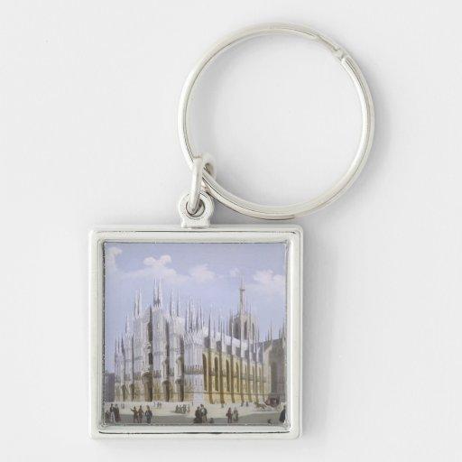 Catedral de Milano de 'vistas de Milano y de su En Llavero Cuadrado Plateado