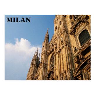 Catedral de Milano en la puesta del sol Postal