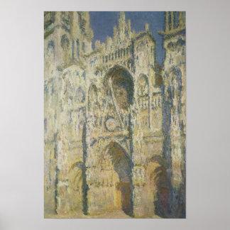 Catedral de Ruán en luz del sol completa Póster