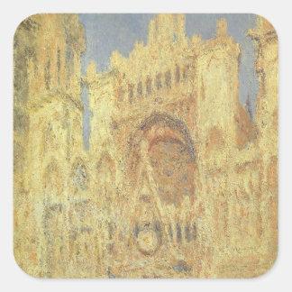 Catedral de Ruán, puesta del sol de Claude Monet Pegatina Cuadrada