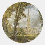 Catedral de Salisbury del jardín del obispo Pegatinas Redondas