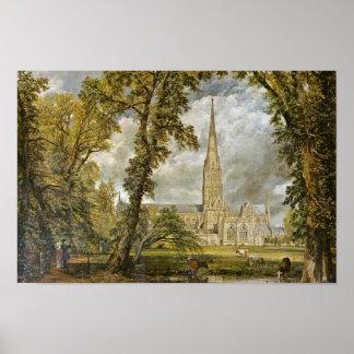 Catedral de Salisbury del jardín del obispo Póster