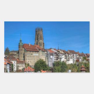 Catedral de San Nicolás en Fribourg, Suiza Pegatina Rectangular