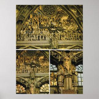 Catedral de Suiza, Berna, tallando en la entrada Póster