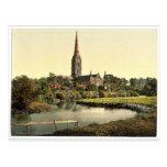 Catedral, del río, Salisbury, Inglaterra rara Postales
