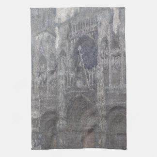 Catedral en el tiempo gris porta de Ruán de Monet Toallas De Cocina