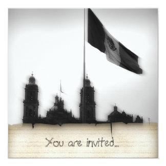 """Catedral en el Zocalo del DF con la Bandera 10 5.25"""" Square Invitation Card"""