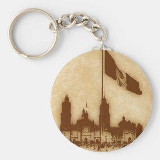 Catedral en el Zocalo del DF con la Bandera 11 Basic Round Button Keychain