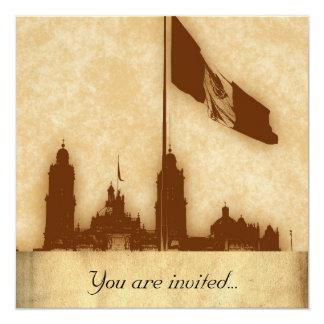 """Catedral en el Zocalo del DF con la Bandera 11 5.25"""" Square Invitation Card"""