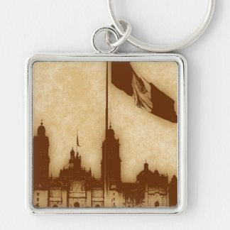 Catedral en el Zocalo del DF con la Bandera 11 Silver-Colored Square Keychain