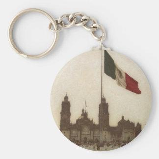 Catedral en el Zocalo del DF con la Bandera 12 Basic Round Button Keychain