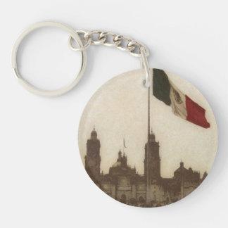 Catedral en el Zocalo del DF con la Bandera 12 Double-Sided Round Acrylic Keychain
