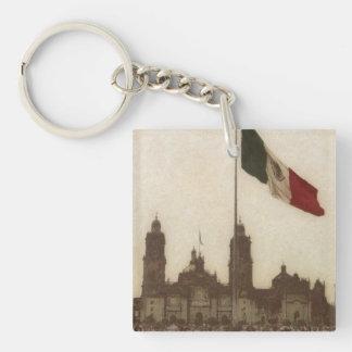 Catedral en el Zocalo del DF con la Bandera 12 Double-Sided Square Acrylic Keychain