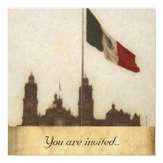 """Catedral en el Zocalo del DF con la Bandera 12 5.25"""" Square Invitation Card"""