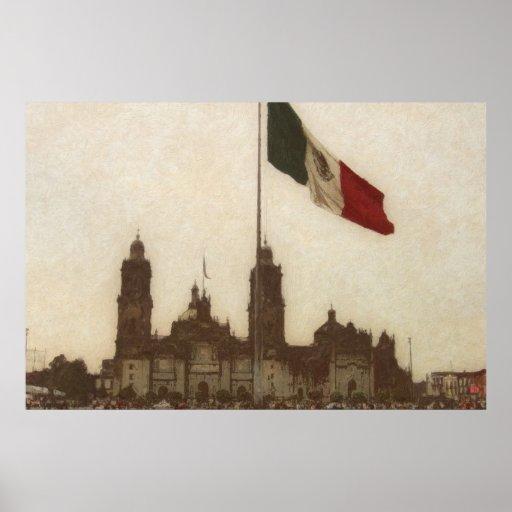 Catedral en el Zocalo del DF con la Bandera 12 Posters