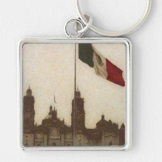Catedral en el Zocalo del DF con la Bandera 12 Silver-Colored Square Keychain