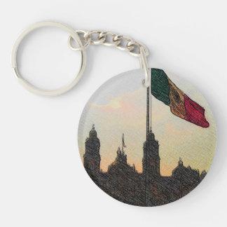 Catedral en el Zocalo del DF con la Bandera 2 Double-Sided Round Acrylic Keychain