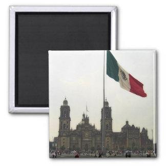 Catedral en el Zocalo del DF con la Bandera 2 Inch Square Magnet