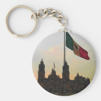 Catedral en el Zocalo del DF con la Bandera 2.jpg Basic Round Button Keychain