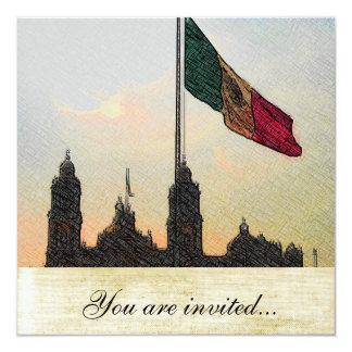 """Catedral en el Zocalo del DF con la Bandera 2.jpg 5.25"""" Square Invitation Card"""