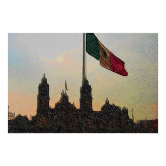 Catedral en el Zocalo del DF con la Bandera 2.jpg Poster