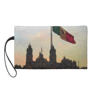 Catedral en el Zocalo del DF con la Bandera 2.jpg Wristlet Purse