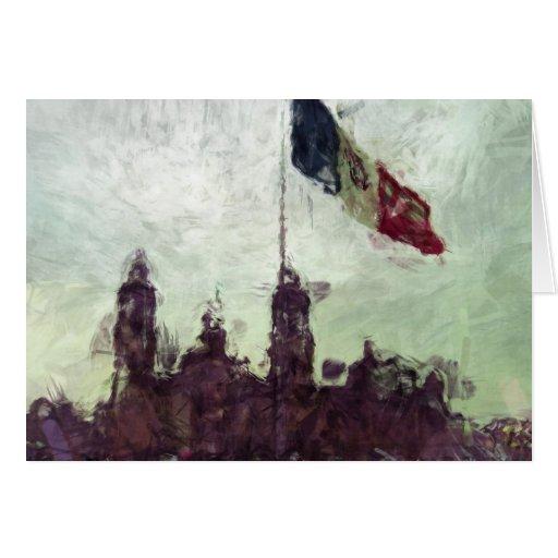 Catedral en el Zocalo del DF con la Bandera 3 Card