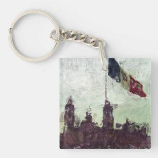 Catedral en el Zocalo del DF con la Bandera 3 Double-Sided Square Acrylic Keychain