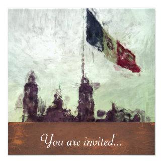 """Catedral en el Zocalo del DF con la Bandera 3 5.25"""" Square Invitation Card"""