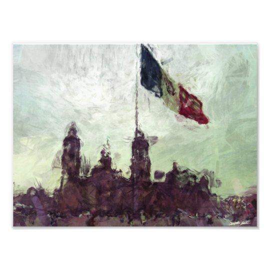 Catedral en el Zocalo del DF con la Bandera 3 Photo Print