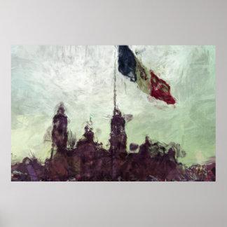Catedral en el Zocalo del DF con la Bandera 3 Poster