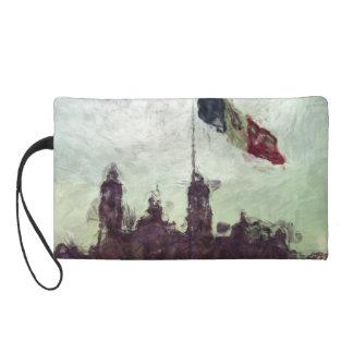 Catedral en el Zocalo del DF con la Bandera 3 Wristlet Purse