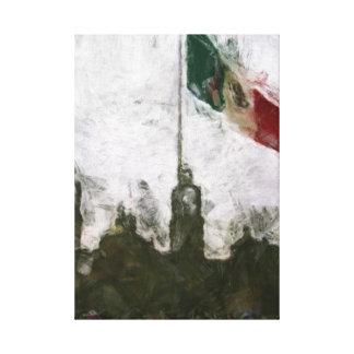 Catedral en el Zocalo del DF con la Bandera 4 Canvas Print