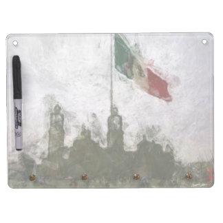 Catedral en el Zocalo del DF con la Bandera 4 Dry-Erase Whiteboards