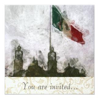 """Catedral en el Zocalo del DF con la Bandera 4 5.25"""" Square Invitation Card"""