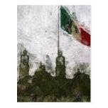 Catedral en el Zocalo del DF con la Bandera 4 Postcard
