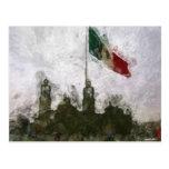 Catedral en el Zocalo del DF con la Bandera 4 Postcards