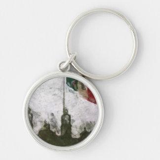 Catedral en el Zocalo del DF con la Bandera 4 Silver-Colored Round Keychain