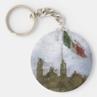 Catedral en el Zocalo del DF con la Bandera 5.jpg Basic Round Button Keychain