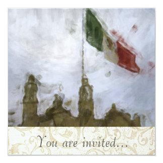 """Catedral en el Zocalo del DF con la Bandera 5.jpg 5.25"""" Square Invitation Card"""