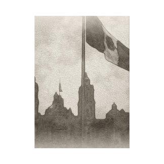 Catedral en el Zocalo del DF con la Bandera 6 Canvas Prints