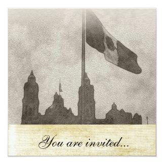 """Catedral en el Zocalo del DF con la Bandera 6 5.25"""" Square Invitation Card"""