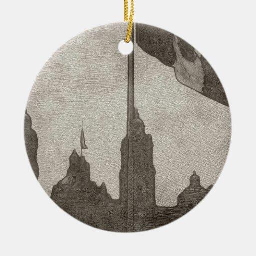 Catedral en el Zocalo del DF con la Bandera 6 Double-Sided Ceramic Round Christmas Ornament