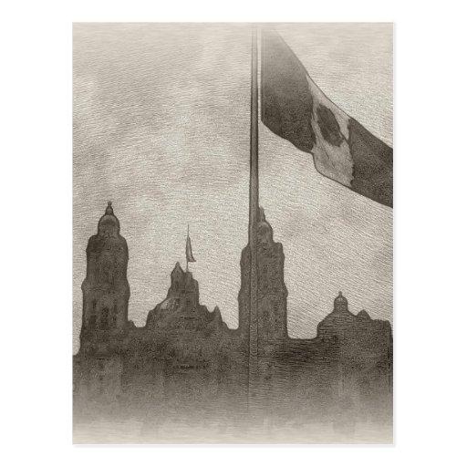 Catedral en el Zocalo del DF con la Bandera 6 Post Cards