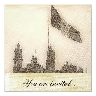 """Catedral en el Zocalo del DF con la Bandera 7 5.25"""" Square Invitation Card"""