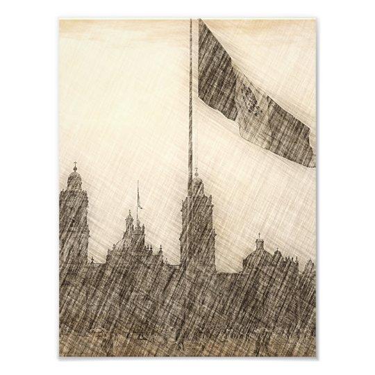 Catedral en el Zocalo del DF con la Bandera 7 Photo Print