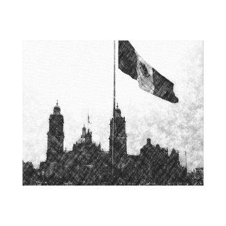 Catedral en el Zocalo del DF con la Bandera 8 Stretched Canvas Prints
